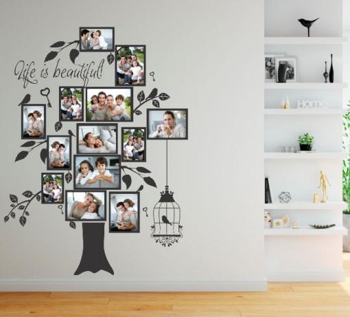 Arborele familiei - sticker perete cu rame foto din autocolant