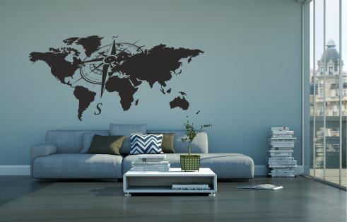 Harta cu busola - sticker decorativ