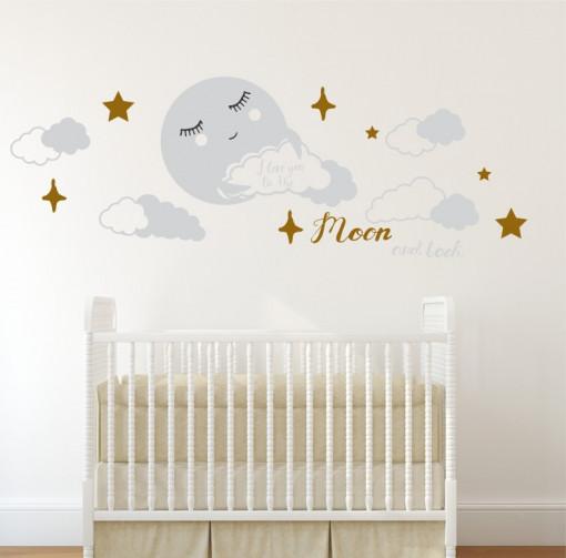 Poze Luna si noi - sticker decorativ pentru copii