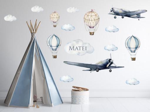 Sticker perete copii - Aviator - nume personalizat