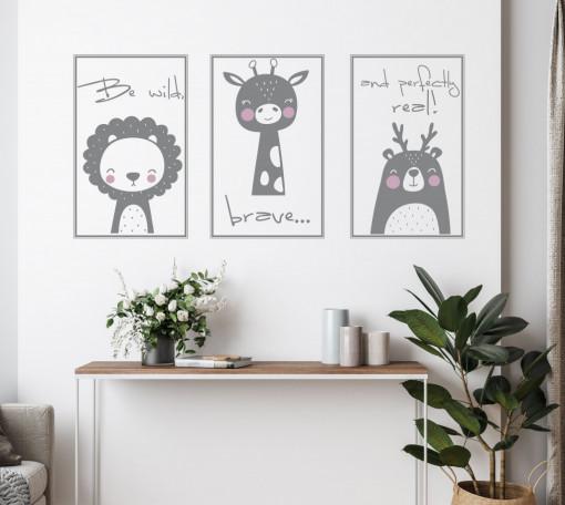 Sticker perete copii - Be wild, brave..