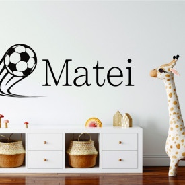 Sticker nume baieti cu mingie de fotbal