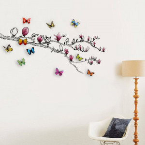 Magnolia and Colourful Butterflies