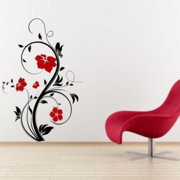 Model floral 120x80cm Negru+Rosu