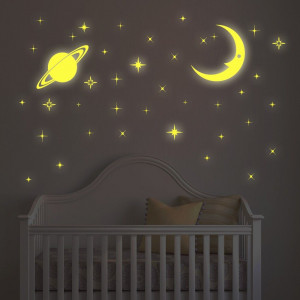 Sticker Moon and Stars Glow