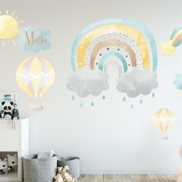 Sticker perete copii - Curcubeu pastelat si nume personalizat
