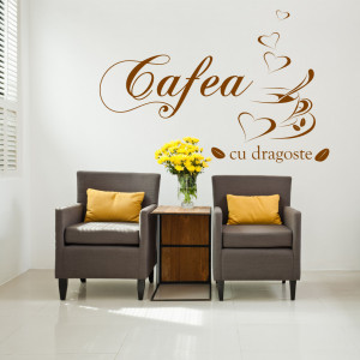 Cafea cu dragoste - sticker decorativ