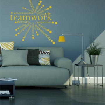 Team work circle-sticker decorativ pentru birou