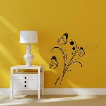 Floare cu fluturi- sticker decorativ