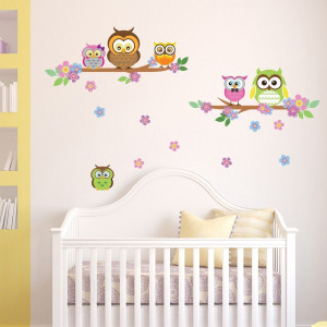 Sticker Owl Flowers Trees