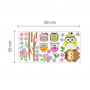 Poze Sticker Owl Flowers Trees