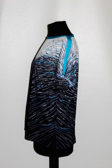 Bluza print abstract turcoaz, alb si bleumarin anii '70