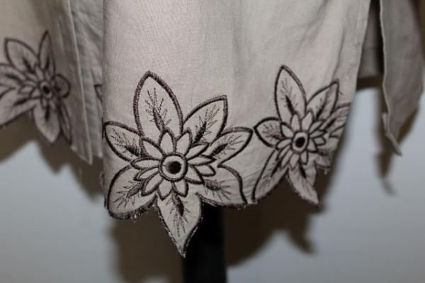 Cămașă kaki broderie florală repro anii 70