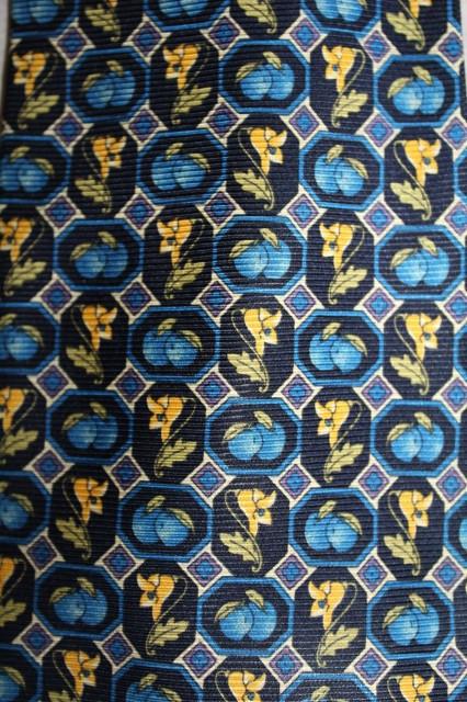 Cravata crini galbeni pe fond albastru anii '70 - '80