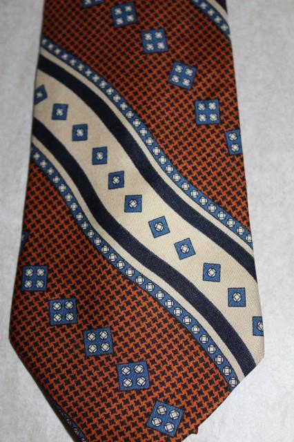 """Cravata print geometric maro si albastru """"Ermenegildo Zegna"""" anii '80"""