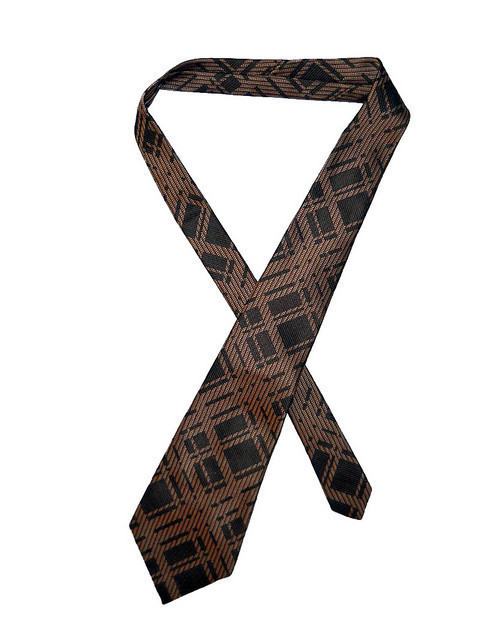 Cravata vintage maro print geometric anii '70