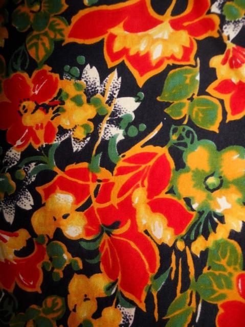 Fusta vintage print floral portocaliu anii '60