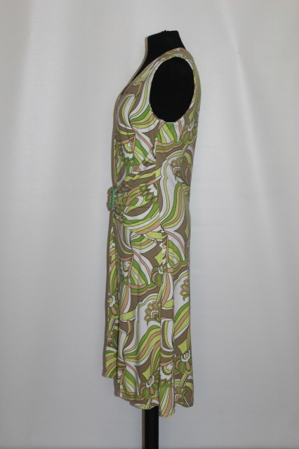 Poze Rochie print psihedelic verde repro anii '60