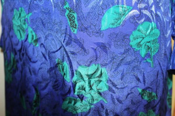 Rochie retro flori verzi pe fond albastru anii '80