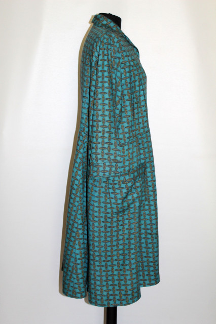 Rochie verde print geometric vintage anii '50