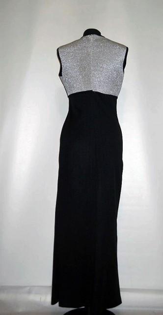 Rochie vintage de seara negru cu argintiu anii '70