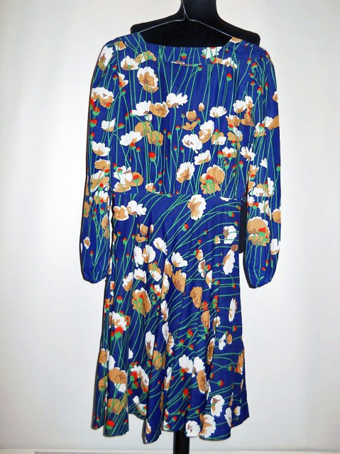 Rochie vintage flori pe fond bleumarin anii '60