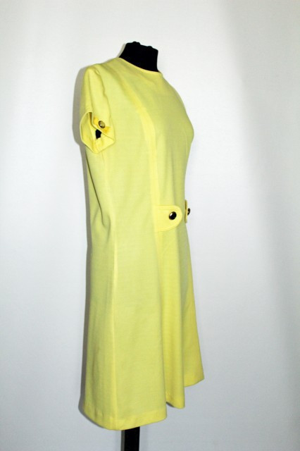 "Rochie vintage galbena ""Ted Lapidus"" anii '60"