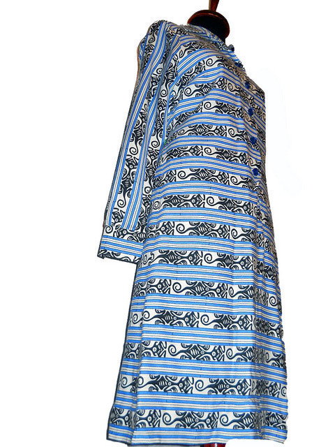 Rochie vintage print abstract si dungi anii '60