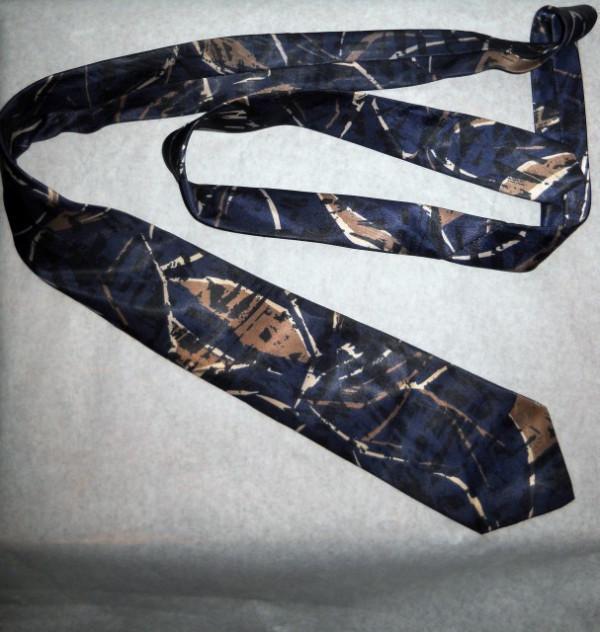 Cravata print grafic maro si albastru anii '70