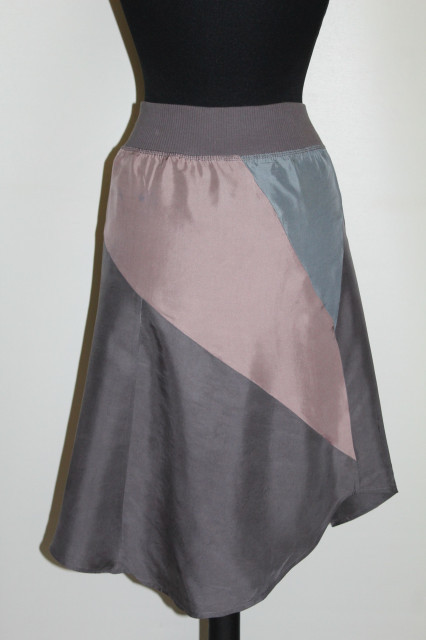 Fustă bicoloră din mătase naturală anii 90