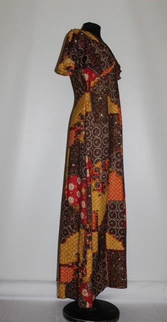 Rochie maxi patchwork geometric anii '70