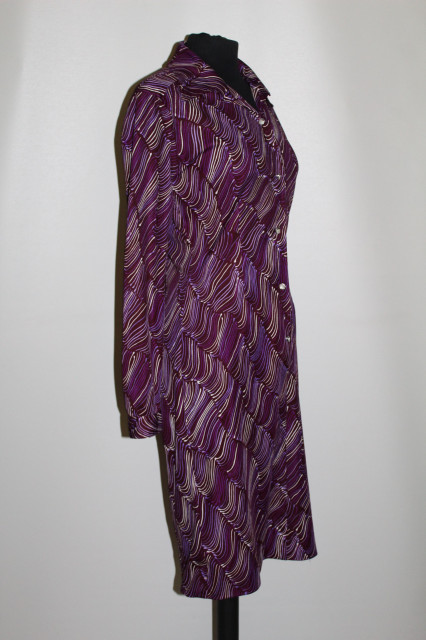 Rochie print abstract violet anii 70