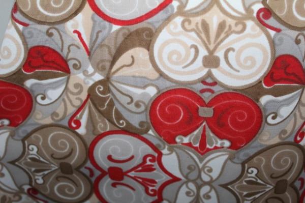 Rochie print geometric kaki si rosu anii '60
