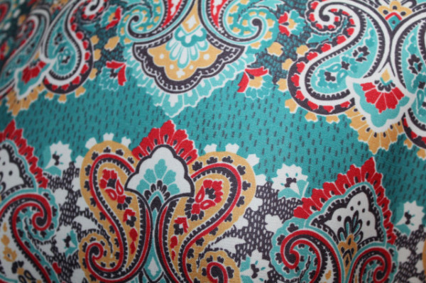 Rochie turcoaz maxi print paisely anii 70