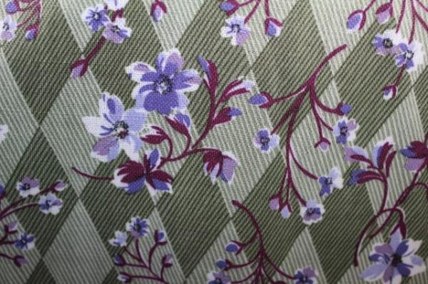 Rochie verde romburi și flori anii 60 - 70