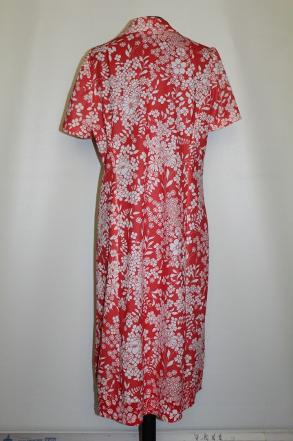 Rochie vintage carmin flori de camp albe anii '70