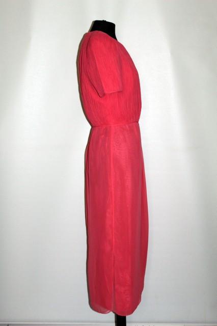 Rochie vintage de ocazie roz somon cu bust plisat marunt anii '70