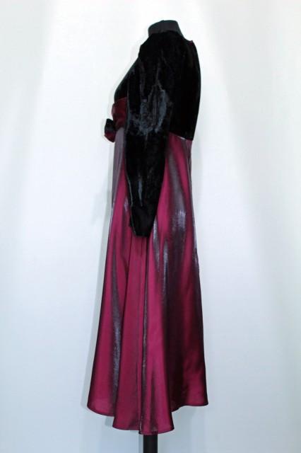 Rochie vintage de ocazie talie empire negru cu visiniu anii '70