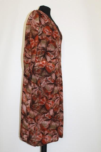 Rochie vintage print floral maro anii '30