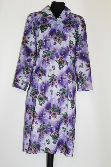 Rochie violet print floral anii '70