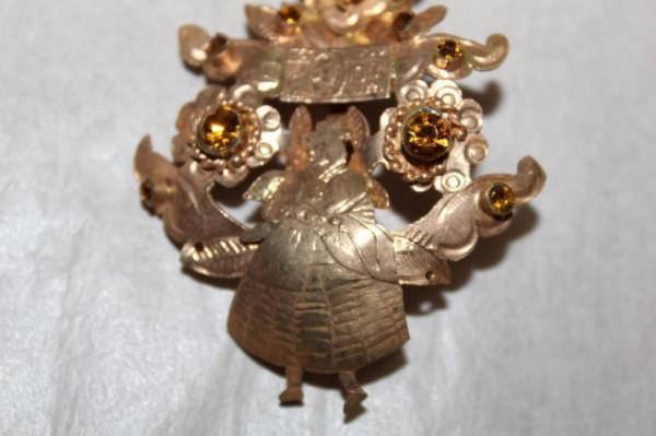 Brosa antique Biedermeier ornamente din citrine cca. 1850