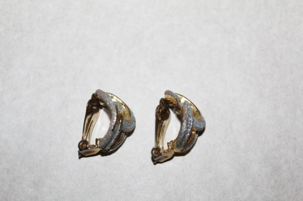 Cercei vintage aurii glazura argintie anii '70