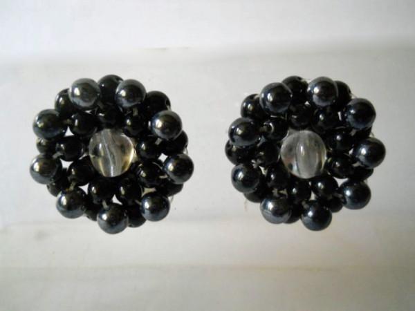 Cercei vintage floare neagra anii '60