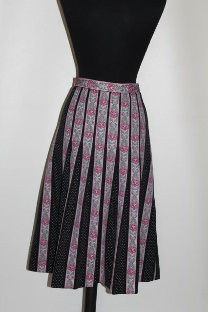 Fustă Trevira paisley roz și picățele anii 70
