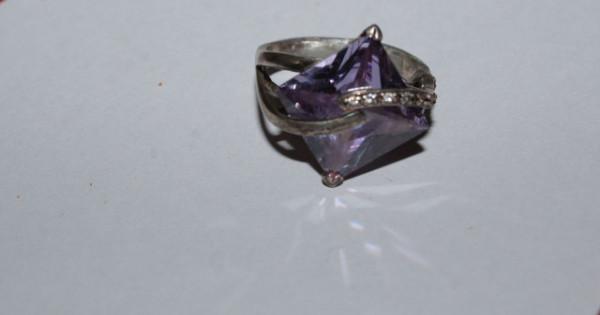 Inel din argint ametist violet anii 50