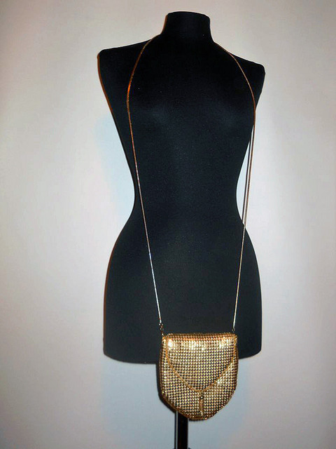 Poseta mesh metalic auriu anii '80