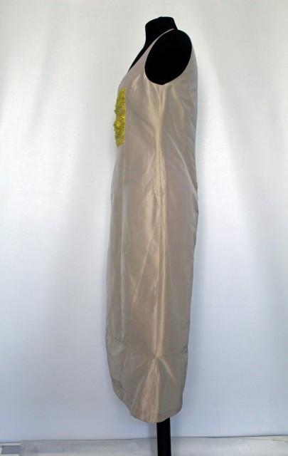 Rochie din tafta bej ornament din dantela repro anii '60
