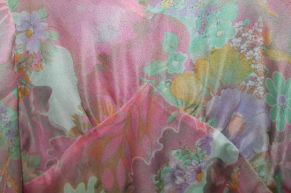 Rochie din voal verde și roz anii 60 - 70