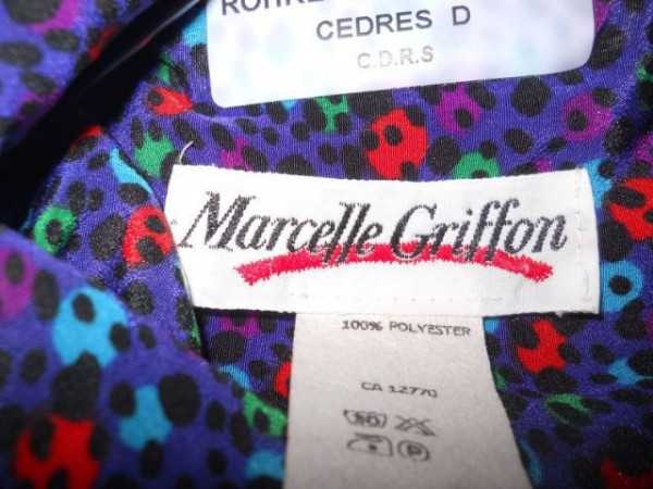"Rochie retro print floral ""Marcelle Griffon"" anii '80"