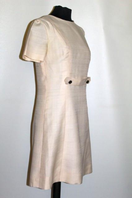 Rochie vintage din șantung ivoire anii 60